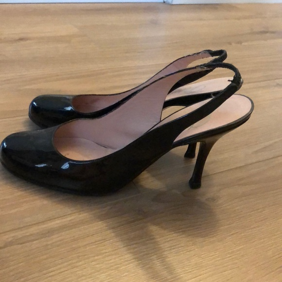 698052b49da Delman round toe slingback patent leather pumps